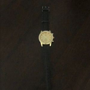 Black leather band ladies watch